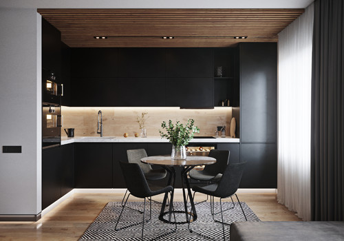 黒・グレー・白のキッチンと家具色-ダイニングキッチン実例72選