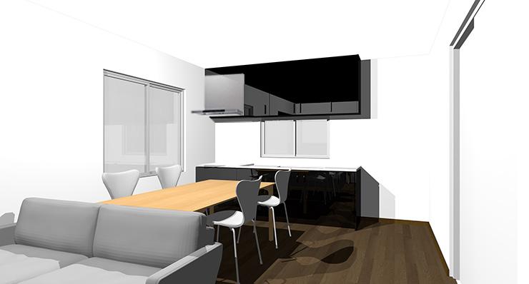 ダークブラウンの床と黒のキッチン