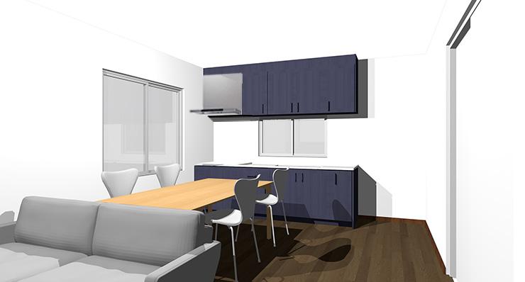 ダークブラウンの床とブルーのキッチン