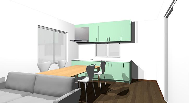 ダークブラウンの床とグリーンのキッチン