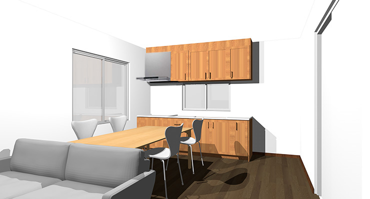 ダークブラウンの床と茶色の木目のキッチン