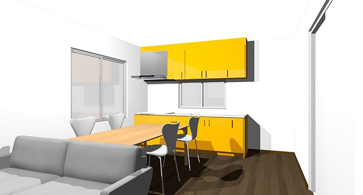 ダークブラウンの床とオレンジのキッチン