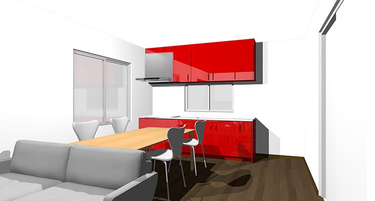ダークブラウンの床と赤のキッチン