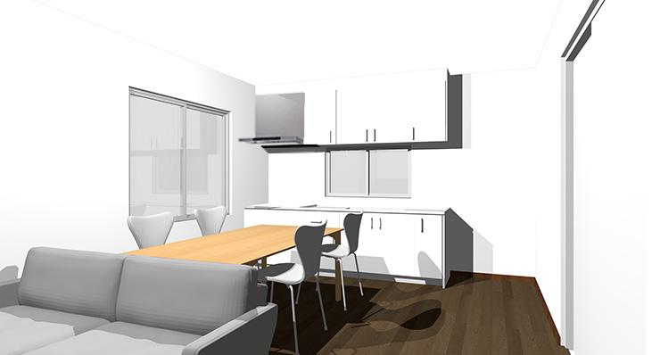 ダークブラウンの床とホワイトのキッチン