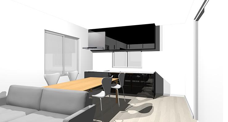 グレーの床と黒のキッチン