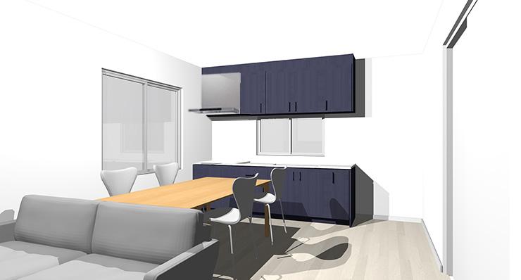 グレーの床とブルーのキッチン