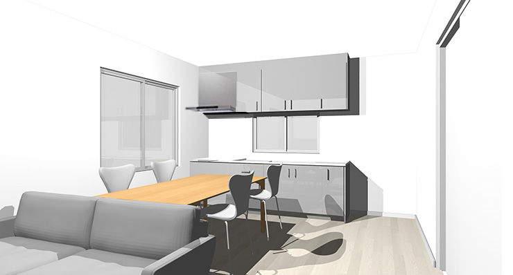 グレーの床とグレーのキッチン