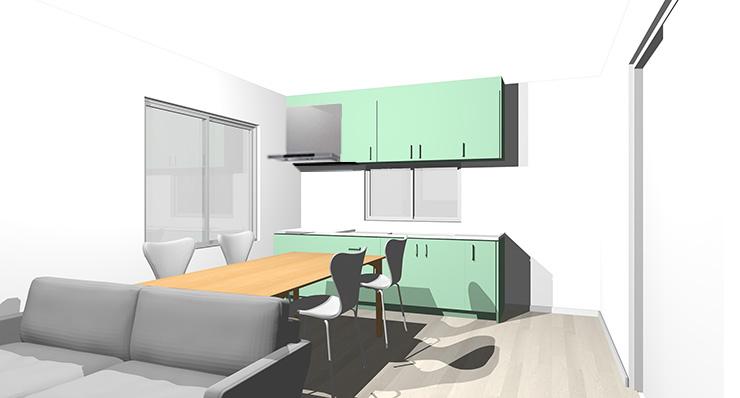 グレーの床とグリーンのキッチン