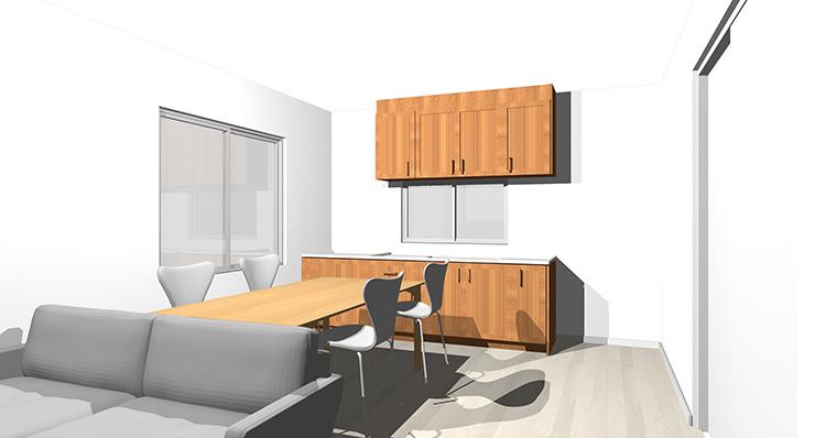 ダークグレーの床と茶色の木目のキッチン