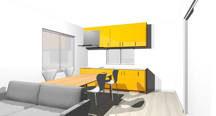 グレーの床とオレンジのキッチン