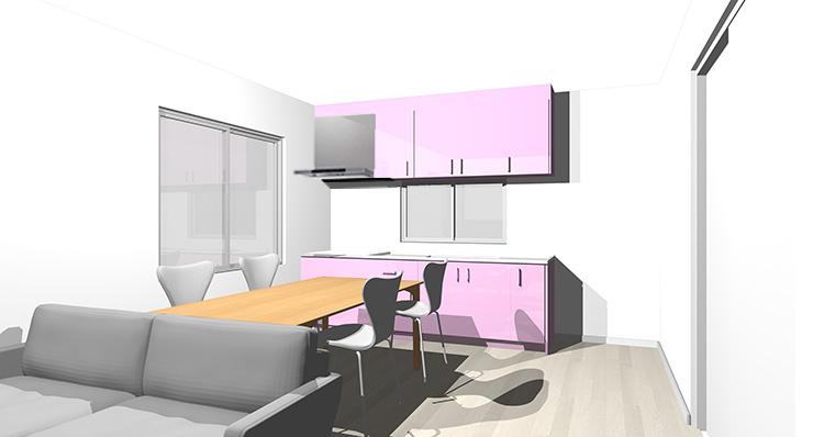 グレーの床とピンクのキッチン