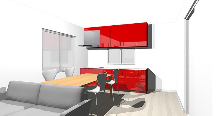 グレーの床と赤のキッチン