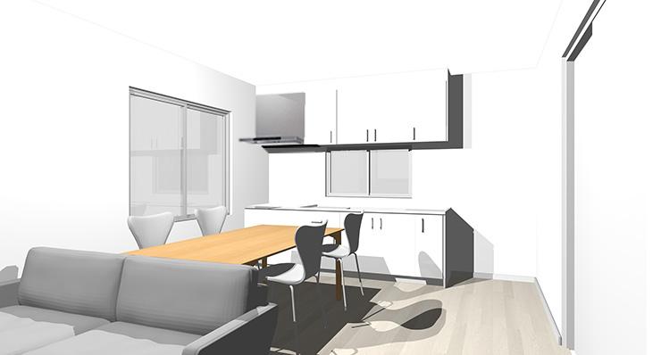 グレーの床とホワイトのキッチン