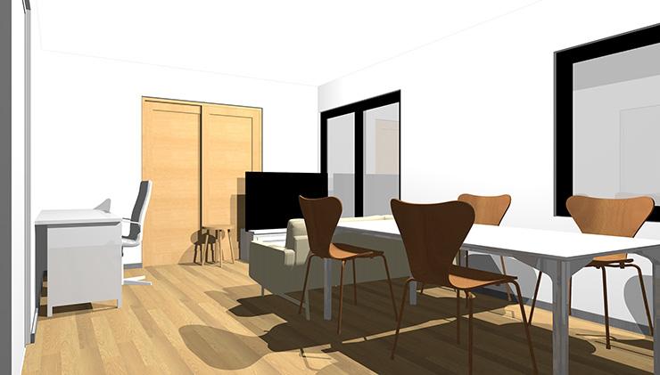 ホワイトや薄い茶色の家具でまとめたリビングダイニング