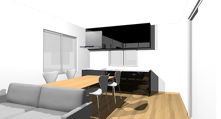 ライトブラウン・ナチュラルブラウンの床と黒のキッチン