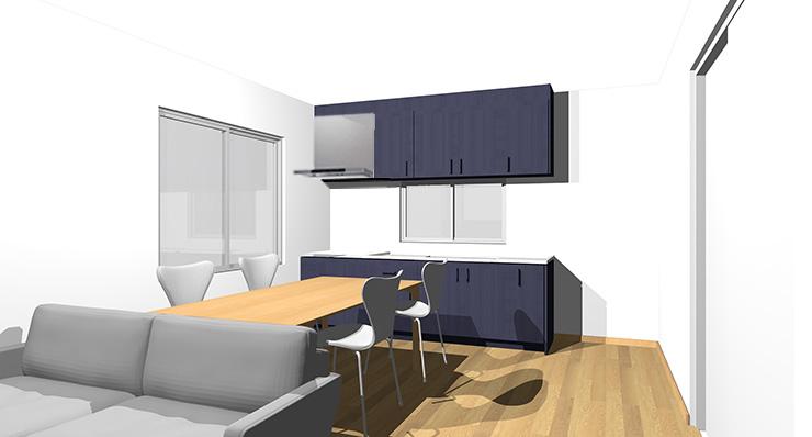ライトブラウン・ナチュラルブラウンの床とブルーのキッチン