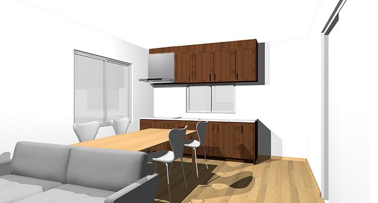 ライトブラウンの床とダークヴラウンの扉のキッチン