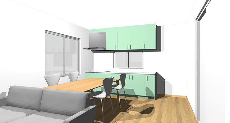 ライトブラウン・ナチュラルブラウンの床とグリーンのキッチン