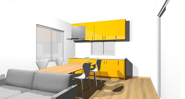 ライトブラウン・ナチュラルブラウンの床とオレンジのキッチン