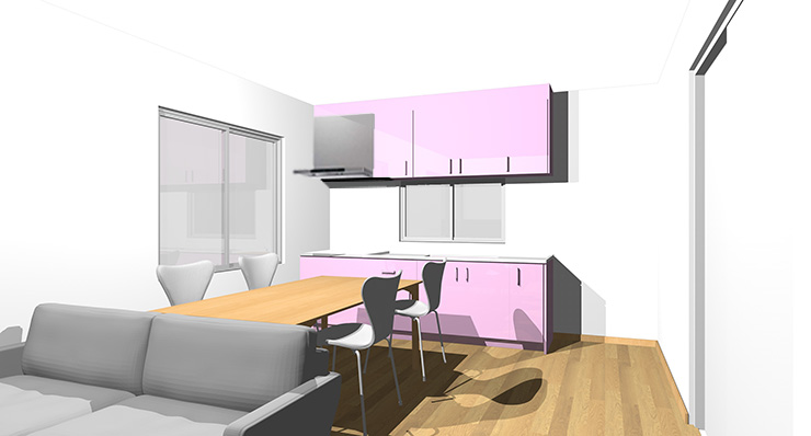 ライトブラウン・ナチュラルブラウンの床とピンクのキッチン