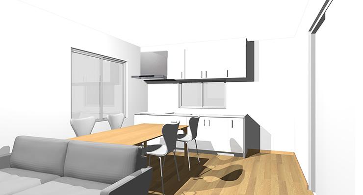 ライトブラウン・ナチュラルブラウンの床とホワイトのキッチン