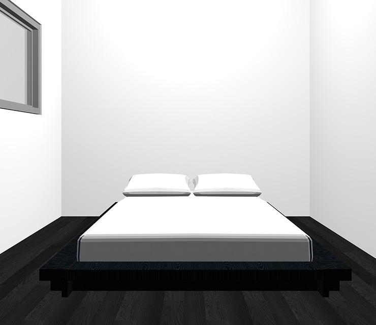 黒の床と黒のベッド