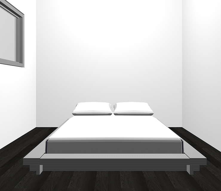 黒の床とグレーのベッド