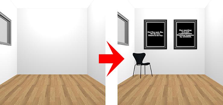 黒のチェアとポスター2枚を足した部屋