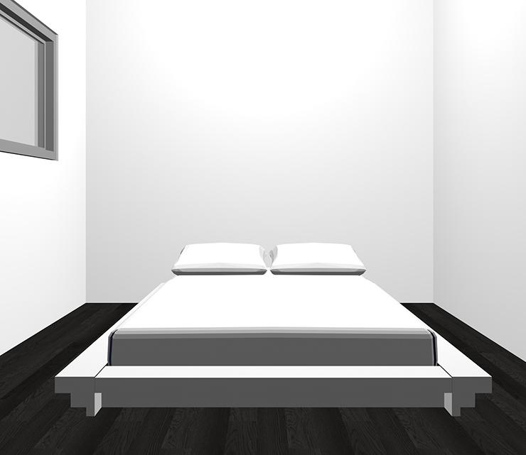 黒の床とホワイトのベッド