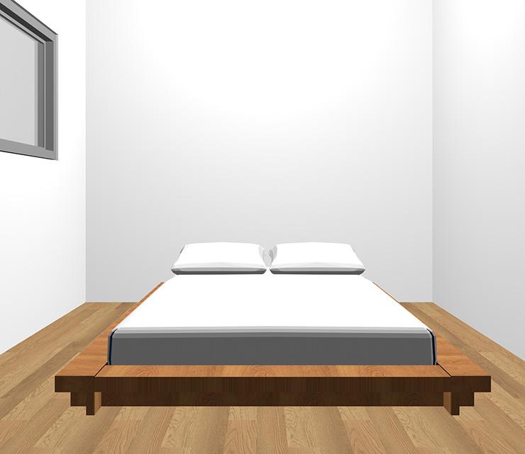 茶色の床と茶色のベッド