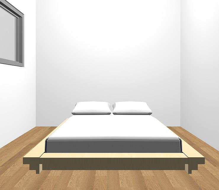 茶色の床と薄い・明るい茶色のベッド