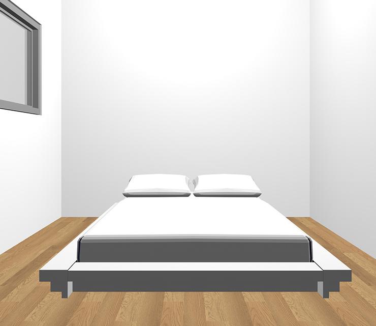 茶色の床とホワイトのベッド