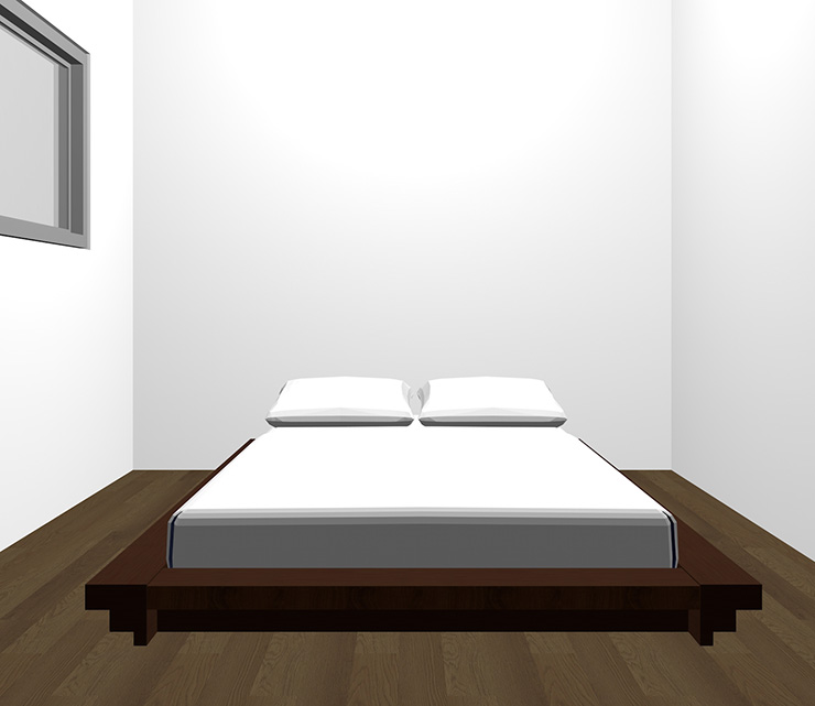 暗い茶色の床と暗い茶色のベッド