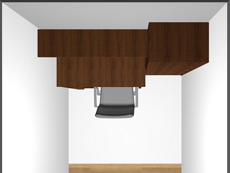 幅120cmのデスクと幅60cmの本棚