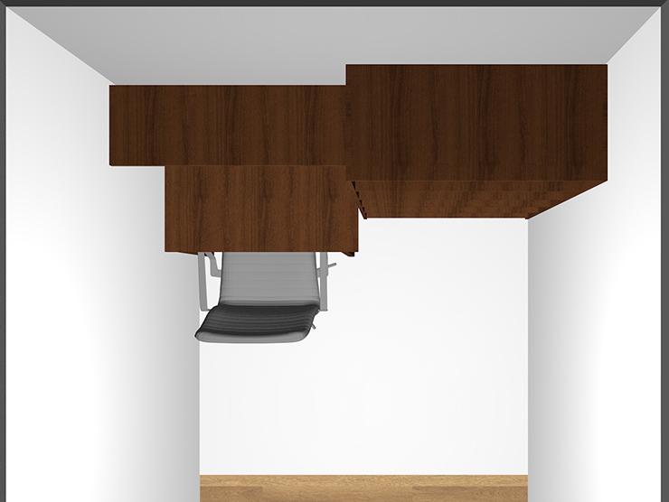 幅190cmのデスクと幅90cmの本棚