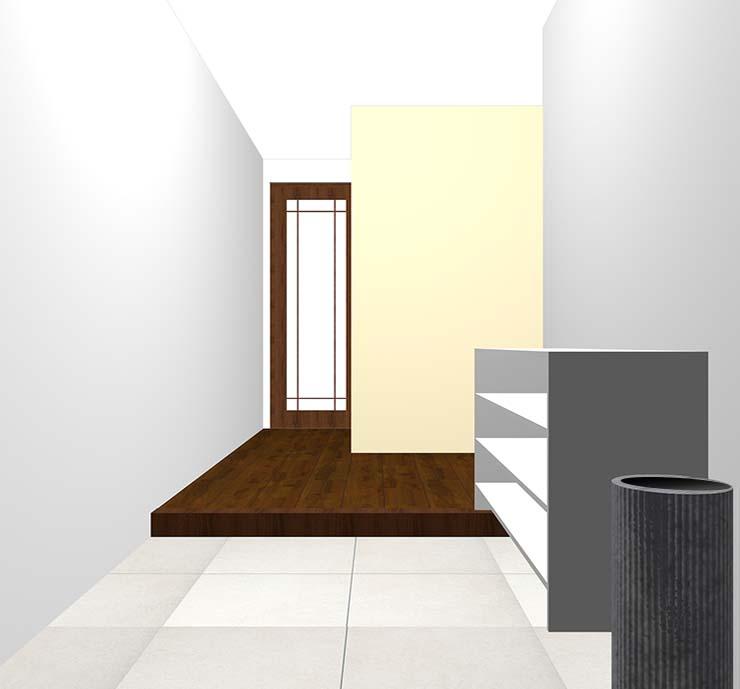 ベージュの壁紙クロス・アクセントクロスの玄関