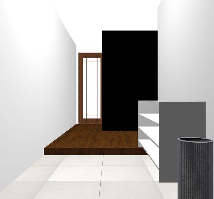 黒の壁紙クロス・アクセントクロスの玄関