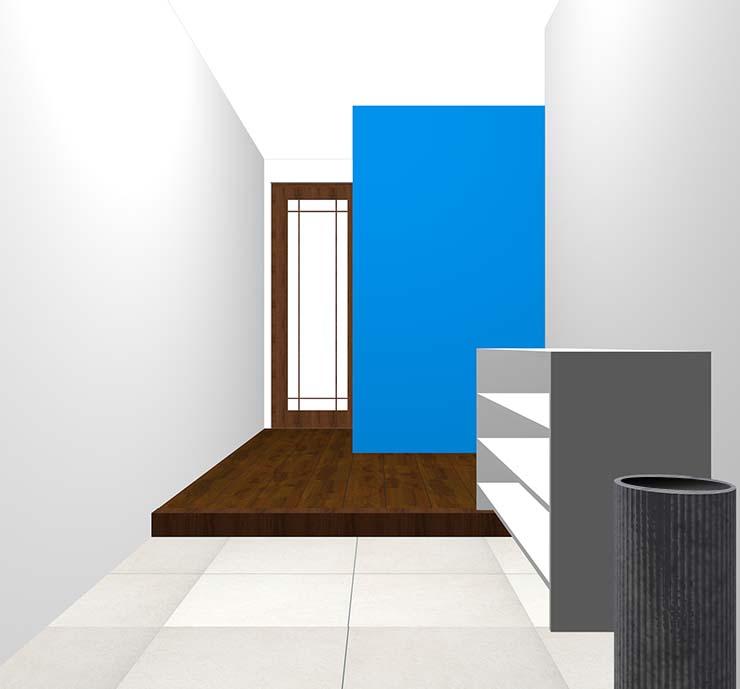 青の壁紙クロス・アクセントクロスの玄関