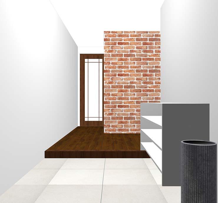レンガ・タイルの壁紙クロス・アクセントクロスの玄関