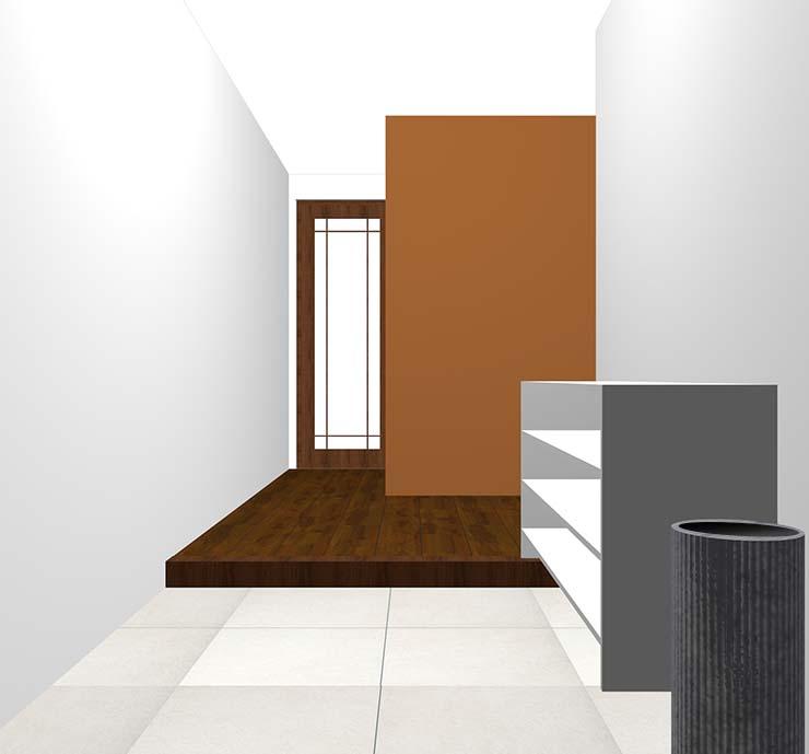 茶色の壁紙クロス・アクセントクロスの玄関
