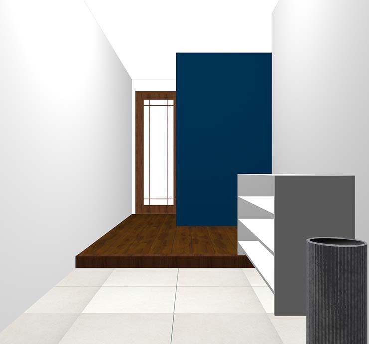 暗い青の壁紙クロス・アクセントクロスの玄関