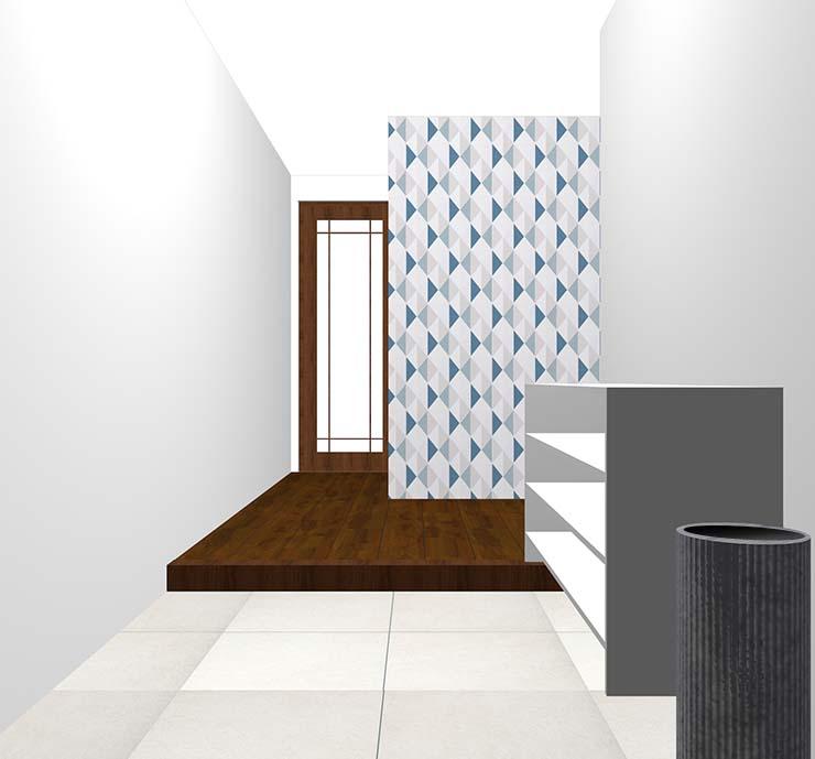 幾何学の壁紙クロス・アクセントクロスの玄関