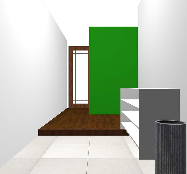 緑の壁紙クロス・アクセントクロスの玄関