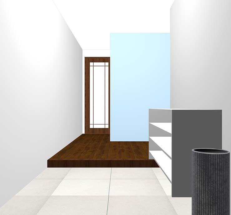 薄い青の壁紙クロス・アクセントクロスの玄関