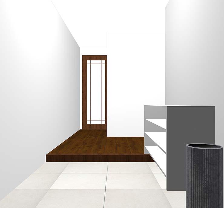真っ白な壁の玄関