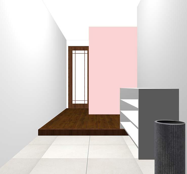 ピンクの壁紙クロス・アクセントクロスの玄関