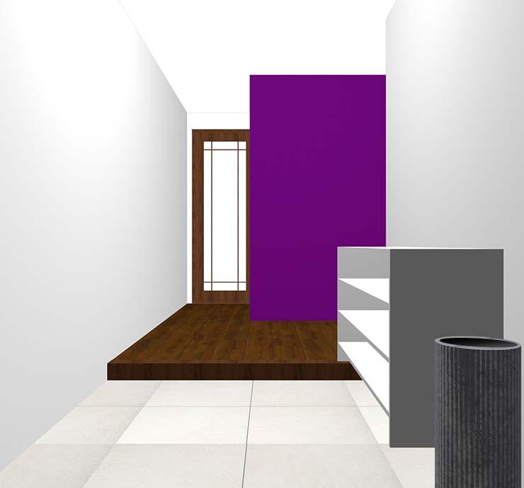 紫の壁紙クロス・アクセントクロスの玄関
