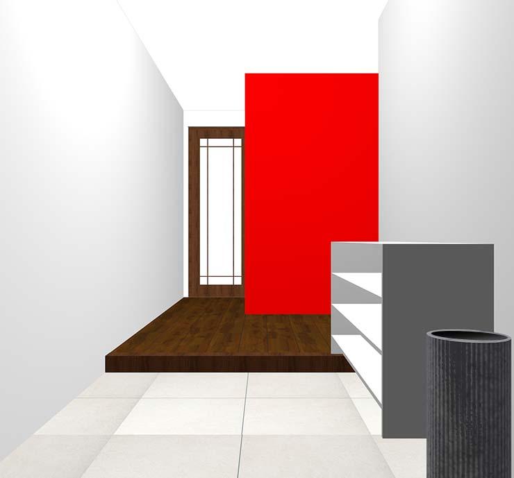 赤の壁紙クロス・アクセントクロスの玄関