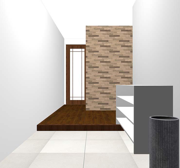 木目の壁紙クロス・アクセントクロスの玄関