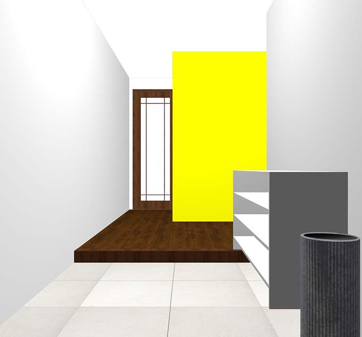 黄色の壁紙クロス・アクセントクロスの玄関